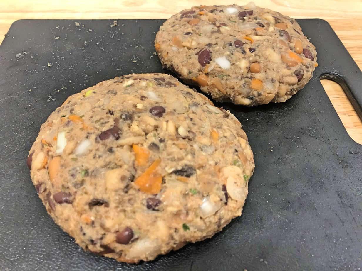 Black and pinto bean mushroom burger
