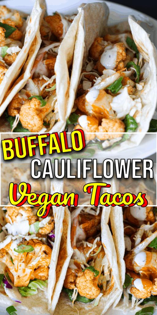Pinterest pin recipe for buffalo cauliflower tacos