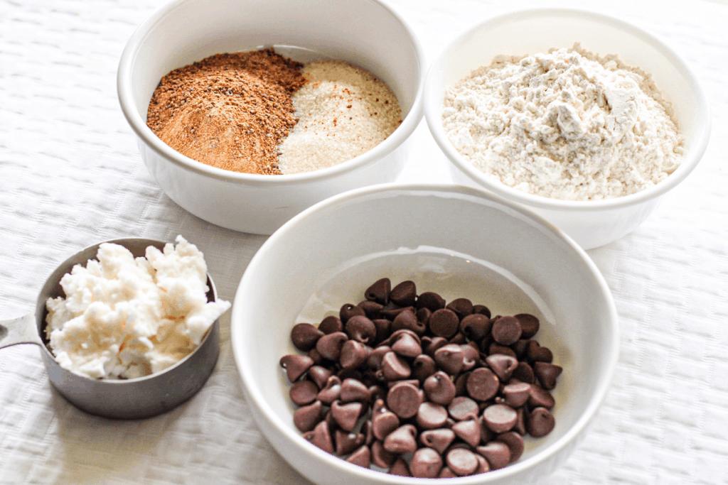 Vegan Chocolate Chip Cookie Ingredients; flour, sugar, vegan butter, vegan chocolate chips