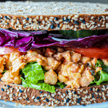 Roasted Red Pepper Chickpea Salad Sandwich
