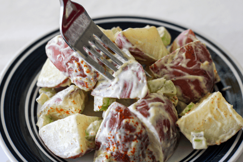 Eating vegan potato salad