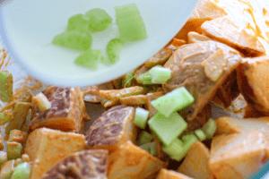 assembling sriracha potato salad