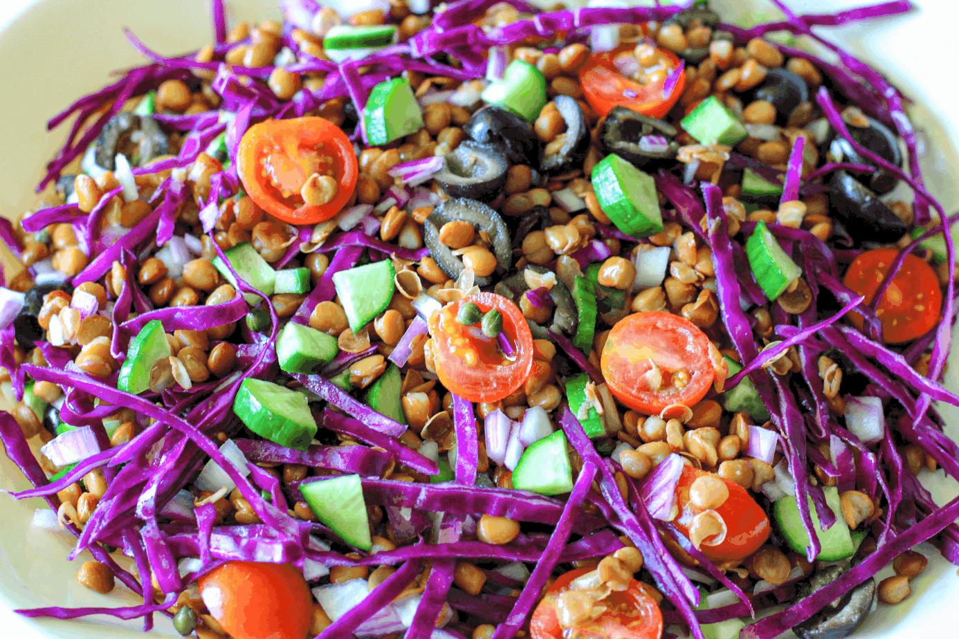 vegan greek lentil salad