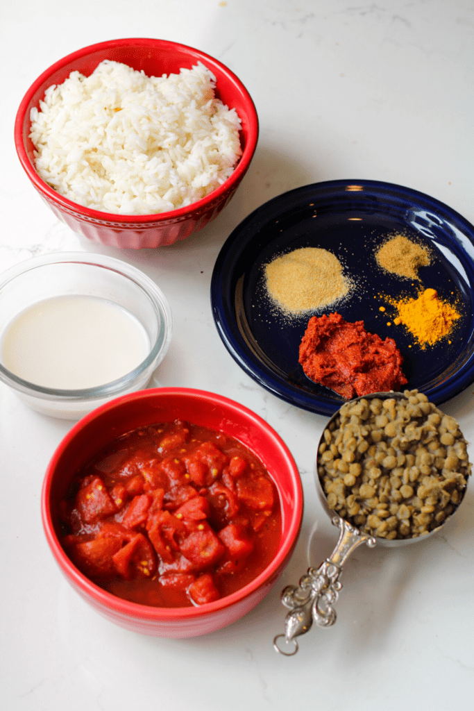 Ingredients for Red Curry Lentils Recipe