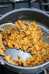 Cooking red curry lentils